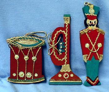 Christmas ornament Toy SOLDIER DRUM & HORN  Group  - Vintage Wooden -  Holiday Misc