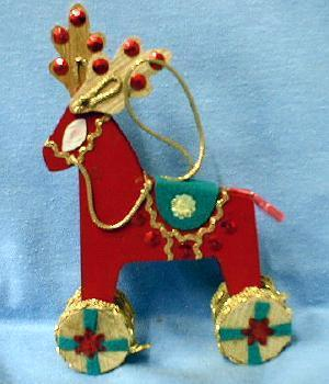 christmas Toy Ride-on REINDEER Christmas  Ornament  - Vintage Wooden  Holiday Misc
