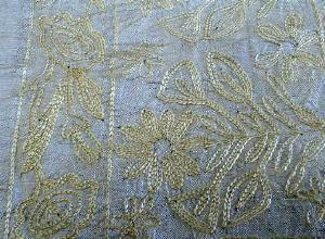 Embroidered Raw Silk Table Runner  - textile