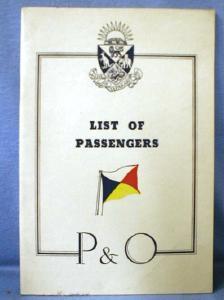 old vintage  Steamship Passenger List - 1938 P&O ss STRATMORE for Australia - paper
