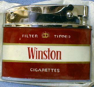 old Winston Cigarette Lighter - NEW in Box - Vintage Tobaccianna Adver