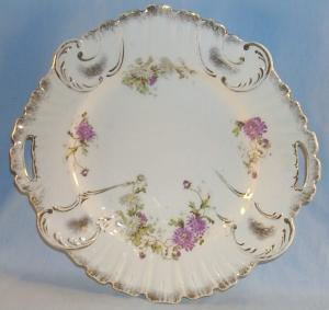 Two Handled Purple Flower Porcelain Serving Plate