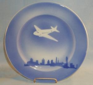 Flow Blue Prop AIRPLANE China Plate - Pottery