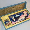 MEMORY OF JAPAN & KOREA Enamel Painted Chrome Cigarette Case and Lighter Set in Original Box - Tobacciana