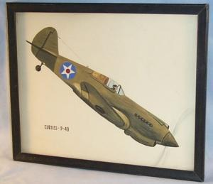 Army Air Corps CURTIS P-40 Fighter Plance Framed Drawing - Military