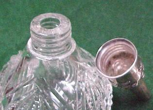 Sterling Powder Shaker Cut Glass for gloves - Silver