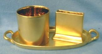Cigarette Smoke Set - Gold Leaf Finish with Match & Cigarette Holder and Tray
