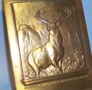 Advertising HARTFORD FIRE INSURANCE COMPANY Elk Bronze Bookends - Metalware