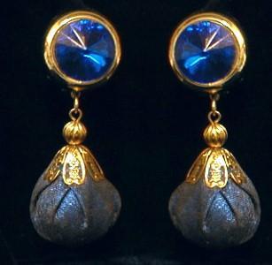 Jewelry  Blue HUGE Drop Earrings - Very RETRO Estate Jewelry