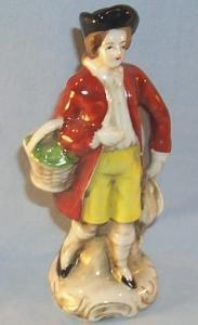 Occupied Japan MAN IN RED COAT WITH BASKET  Porcelain Figurine