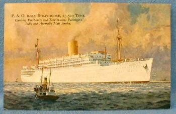 nautical Steamship P&O RMS STRATHMORE Steamship Cruise Line Postcard - paper