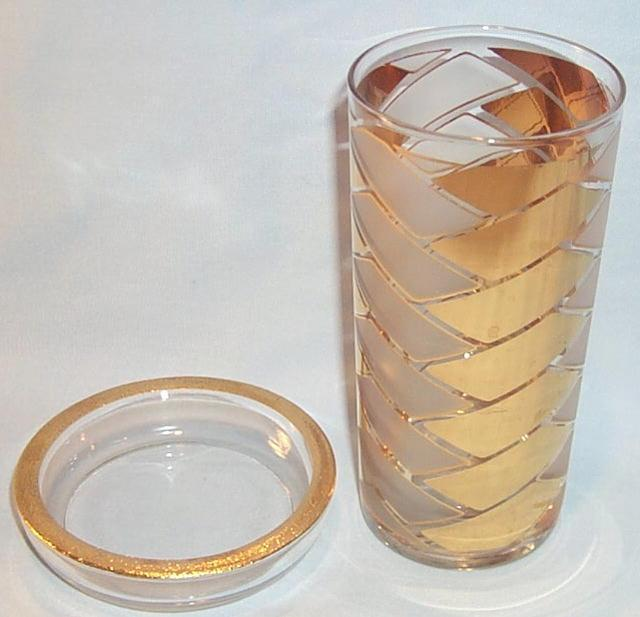 Attractive Gold Trimmed FIFTIES Glass and Coaster Set in Wire  Carrier