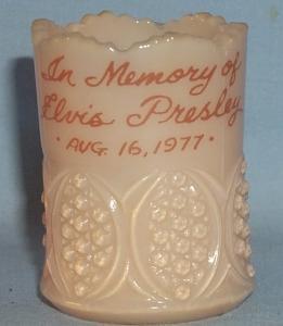 Almond Slag Glass IN MEMORY OF ELVIS PRESLEY Toothpick Holder