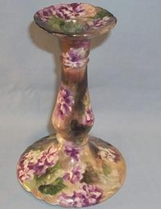 Porcelain LIMOGES Purple Flower Pedestal Candlestick.