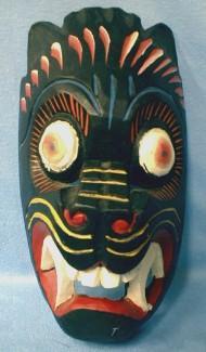 Carved Wood Mask - Hand Painted Ethnographic Folk Art