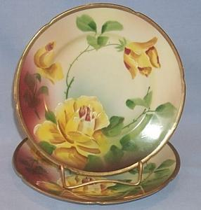 Two Austrian Yellow Rose Decorated Hand Painted Signed Porcelain Plates