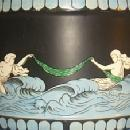 English MAJOLICA Sea Scene Covered Biscuit Jar - Porcelain
