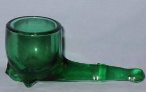 Forest Green Glass PIPE SHAPE Toothpick Holder