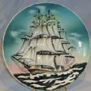 MAJOLICA LIKE Sailing Ship Wall Hanging Porcelain Plate