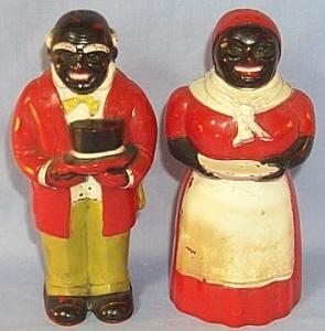 Ethnographic AUNT JEMIMA AND UNCLE MOSE Plastic  Salt And Pepper Shaker Set.