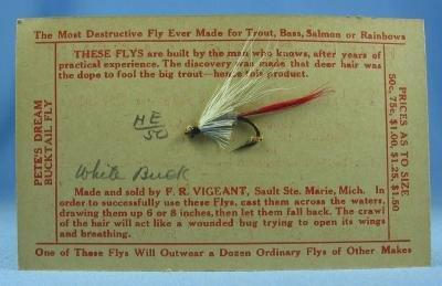 Salmon Fishing Fly WHITE BUCK - Hand Tied Bait Lure - Vintage Sporting