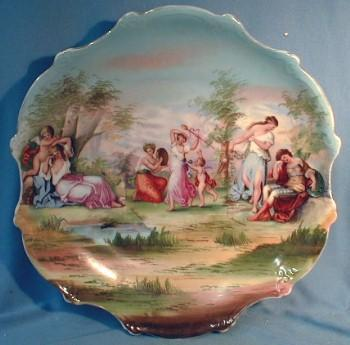 Angelica Kauffmann  Porcelain Charger - Antique Victorian Plate