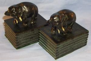 Pair Ronson ELEPHANTS ON BOOKS  Grey Metal Bookends - Metalware