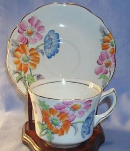 Porcelain Foley China Cup & Saucer with Multi-Colored Pansy Pattern.