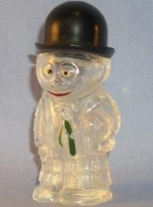 Glass Crystal,  Hand Painted  Man In Suit Shaker,  Black Derby Hat Lid.     .