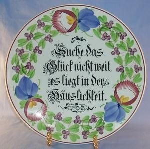 Large Porcelain Decorative Hand Painted  Hanging Plate with GERMAN  VERSEse