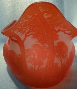 Richard Cameo Art Glass Flared Bowl - Art Signed Antique Art Glass