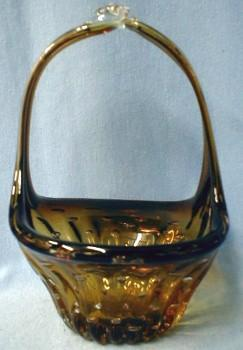 ERICKSON Amberina Art Glass Basket with Controlled Air