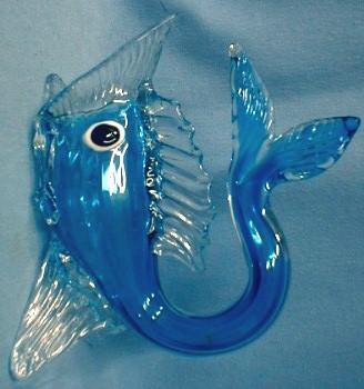 Italian Art Glass FISH  - Cobalt Blue Art Glass