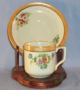 Porcelain Occupied Japan Flower Design Lustreware Demitasse Cup & Saucer