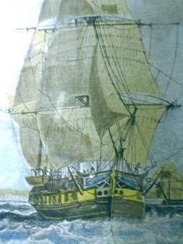 Nautical Sailing Ship and Lighthouse Print  OUTWARD
