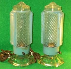 Pair Of Blue  Art Deco Boudoir Lamps.