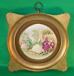 Porcelain (Victorian Scene) Hanging Plaques in Gold Finish Wood Frames