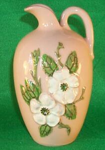 White Flowered Hull Pottery  ROSELLA  Ewer