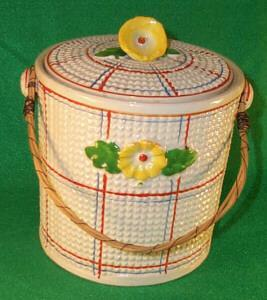 Pottery Cracker Jar W/Lid and Wood Vine Handle