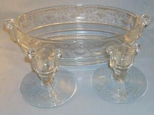 Beautiful Fostoria  Cut Crystal Glass Console Set with Handled  Oval Bowl & Candlesticks