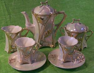 Seven Piece Porcelain Lustre Ware Tea Set
