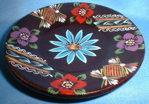 Folk Art TREEN Ware ~ Hand Painted Woodenware Dish - Folk Art Collectible