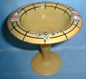 Hand Painted Glass Compote -  Doric Column