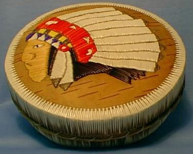 Rare Ottawa Indian Birch Bark & Quill Covered Box -