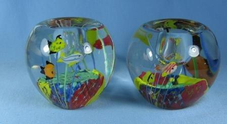 Art Glass  Paperweight fish Candle Holders  - Murano Italy