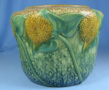 Roseville Pottery SUNFLOWER Art Pottery Vase  -  Antique Pottery