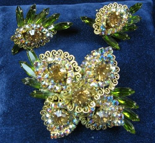 HOBE Brooch Pin with matching Clip Earrings - Vintage Designer Costume Filigree with Amber Green Rhinestone Costume Jewelry