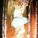 Wire Wrap AIR BALLOON Angel Christmas Figural - Glass