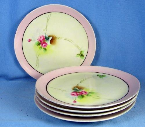 Nippon Porcelain Pottery - Hand Painted Dessert Plate Group
