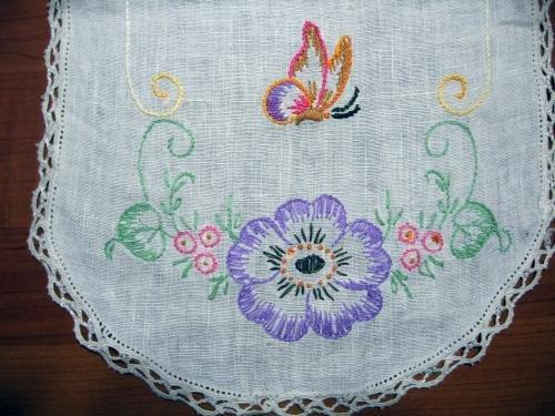 Antique Embroidered Table Runner - VintageTextile